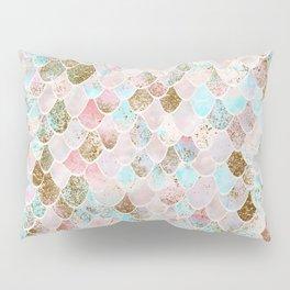 Wonky Watercolor Sea Foam Glitter Mermaid Scales Pillow Sham