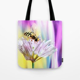 Hover fly and chive blossom Tote Bag