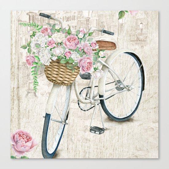White bike & roses Canvas Print