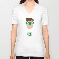 green lantern V-neck T-shirts featuring GREEN LANTERN by Roboz