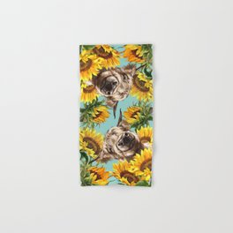 Highland Cow with Sunflowers in Blue Hand & Bath Towel