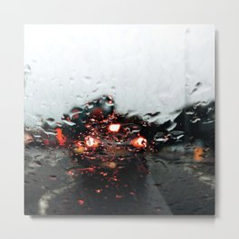 Rain drops close up from a car Metal Print