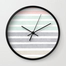 Huntley - striped gender neutral nursery baby decor trendy pattern art Wall Clock