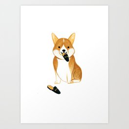 Corgi with Shoes Art Print