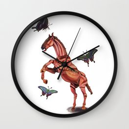 horse and butterfly Wall Clock