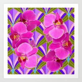 Pink & Fuchsia Purple Art Deco Orchids Art Art Print