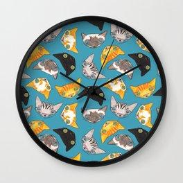 """Oro?"" Cats-Teal Wall Clock"