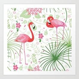 Flamingos red Art Print