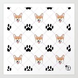 Corgi paw print pattern Art Print