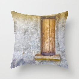 Old shuttered window Throw Pillow