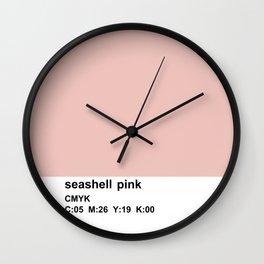 pantone colorblocking design, cmyk pink Wall Clock