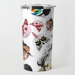 Pop Cats - Pattern on White Travel Mug