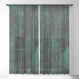 BOTANY - DARK - GREEN - PLANTS - FERN - PHOTOGRAPHY Sheer Curtain