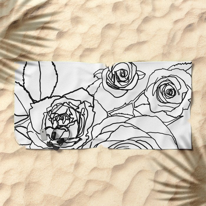 Feminine and Romantic Rose Pattern Line Work Illustration Beach Towel fbca22d2993ad