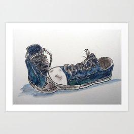 Old Blue Sneakers Art Print
