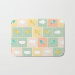 Clouds and birds Bath Mat