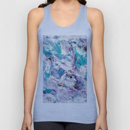 Purple turquoise blue abstract mermaid brushstrokes acrylic painting Unisex Tank Top