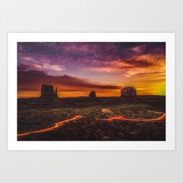 Moonrise at Monument Valley (USA) Art Print