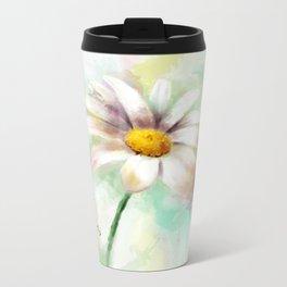 Daisy watercolor - flower illustration Metal Travel Mug