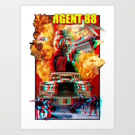 """Stereoscopic 3D version of """"Guns O' Fury"""" from Heavy Metal presents The Art of 88 Art Print"""