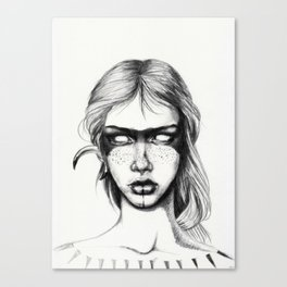 Nocturnal Warrior Sketch Canvas Print