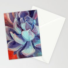 Succulent Echeveria Cactus, Scarlet Turquoise Purple Stationery Cards