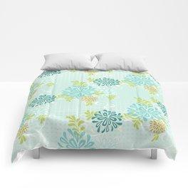 Bold Graphic Mod Mum Modern Chrysanthemum Floral Flower Aqua Blue Comforters