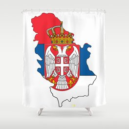 Serbia Map with Serbian Flag Shower Curtain