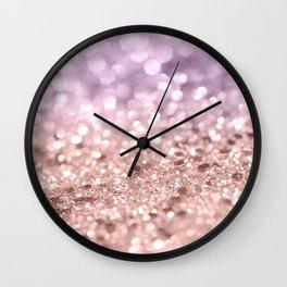 Rose Gold Blush Purple MERMAID Girls Glitter #1 #shiny #decor #art #society6 Wall Clock