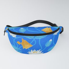 Tangram goldfish and water lilies in blue Fanny Pack