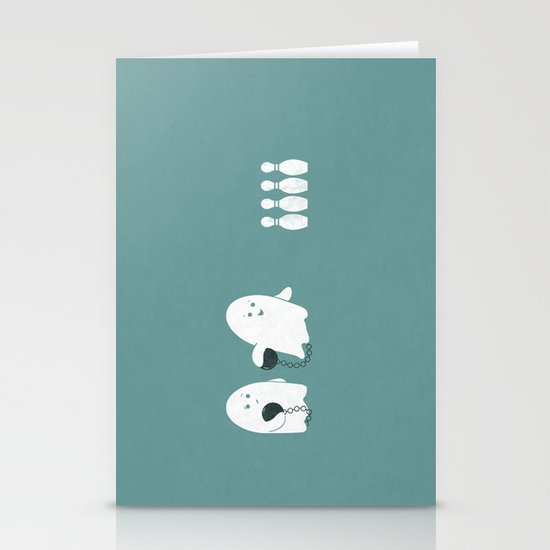 Bowling Ghost Stationery Cards