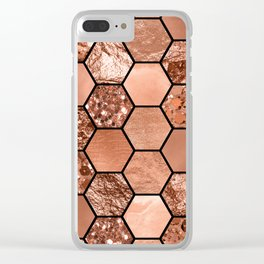 Rose gold hexaglam Clear iPhone Case
