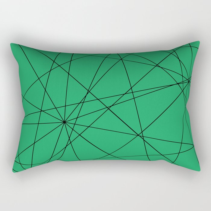 Fractal pattern of black intersecting lines on a lush green background. Rectangular Pillow