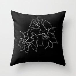 Succulents B&W Throw Pillow