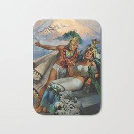 Caballero Aztec Warrior and Queen Mexican Yucatan romantic portrait painting Bath Mat