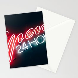Open 24h Neon Sign Stationery Cards