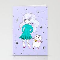 puppycat Stationery Cards featuring Bee and Puppycat  by Alxndra Cook