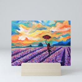 Lavender Field Walk-girl With Umbrella Mini Art Print