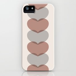 Hearts - Cocoa & Gray iPhone Case