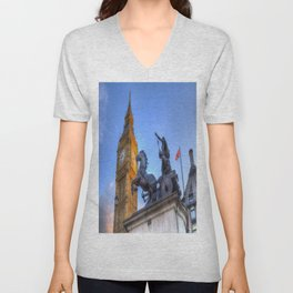 Big Ben and Boadicea Statue  Unisex V-Neck