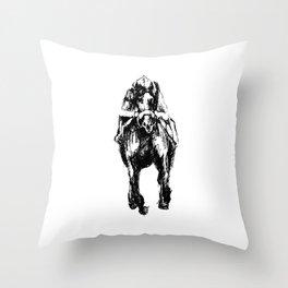 Racehorse Sketch Throw Pillow
