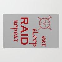 vikings Area & Throw Rugs featuring eat-sleep-RAID-repeat red, Vikings by ZsaMo Design