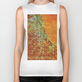 10-Chicago Illinois 1947, old map, orange and red Biker Tank