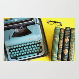 Typewriter and Vintage Books Rug