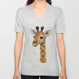 Baby-Giraffe-Nursery-Print-Watercolor-Animal-Portrait-Hearts Unisex V-Neck