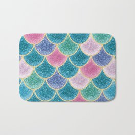 Glittery Mermaid Scales Bath Mat