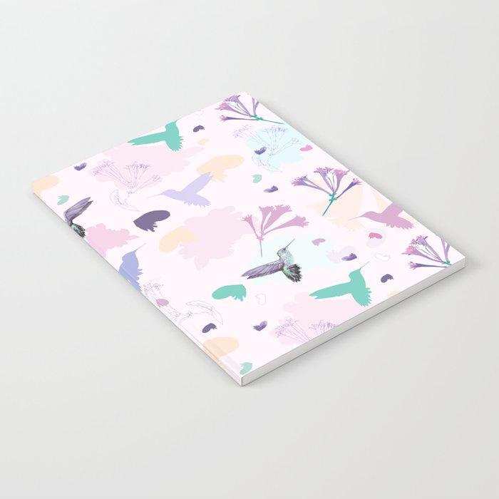 Hummingbird and flower pastel petal pattern Notebook