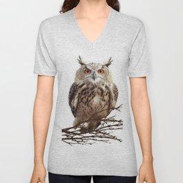 WILDERNESS BROWN OWL IN WHITE Unisex V-Neck
