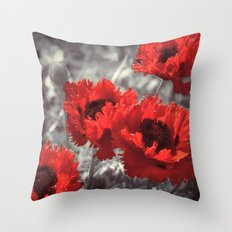 Big Red Watercolor Poppies on Grey Background Throw Pillow