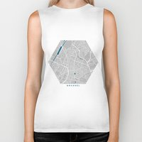 brussels Biker Tanks featuring Brussels city map grey colour by MCartography